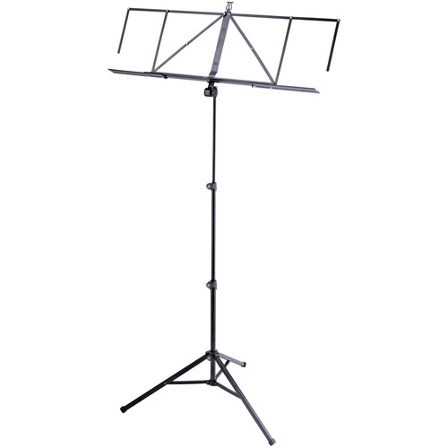 K&M Robby Plus Height-Adjustable Music Stand with Expandable Music Desk (Black)
