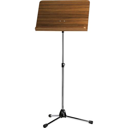K&M Orchestra Music Chrome Stand (Walnut Wooden Desk)