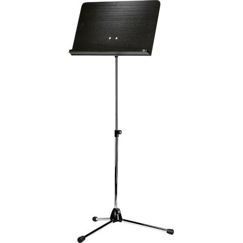 K&M Orchestra Music Chrome Stand (Black Wooden Desk)