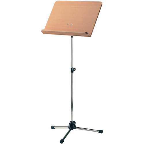 K&M Orchestra Music Stand - Chrome Stand with Beech Wooden Desk