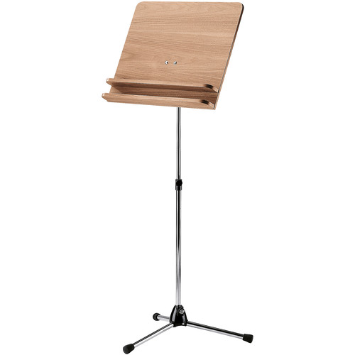 K&M Orchestra Music Stand - Chrome Stand with Walnut Wooden Desk