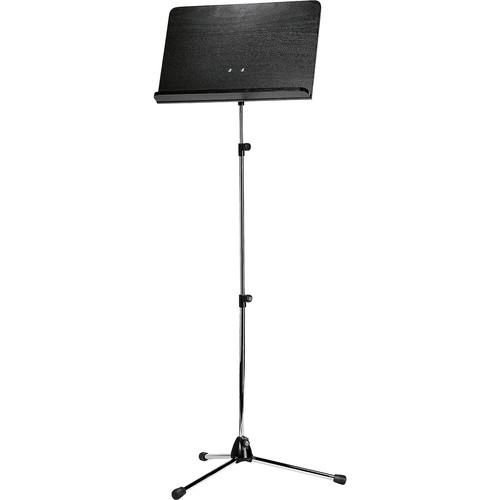 K&M Orchestra Music Chrome Stand, Longer Shaft (Black Wooden Desk)