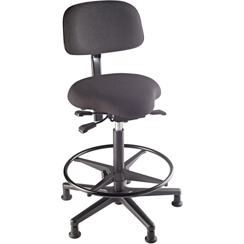 K&M 13460 Fully-Adjustable Bass Stool with Upholstered Seat and Backrest (Black)