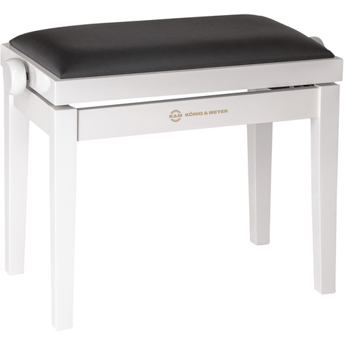 K&M 13711 Piano Bench Wooden Frame with White Glossy Finish