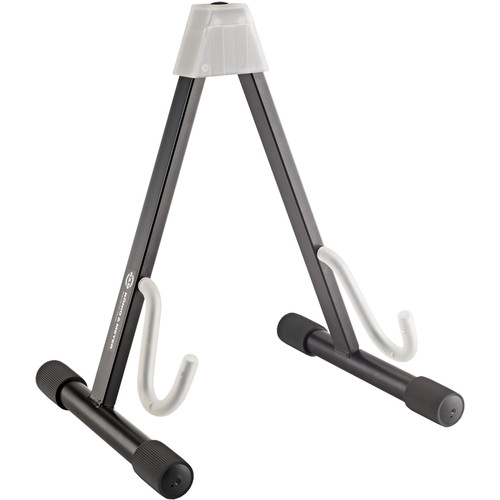 K&M A-Frame Guitar Stand for Electric Guitars (Black with Translucent Supports)