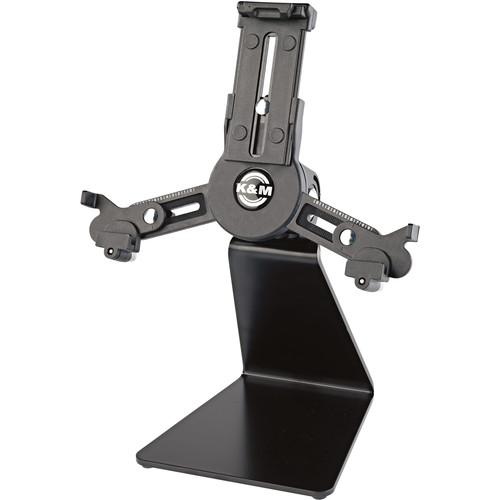 K&M 19797 Mini Universal Tablet Holder with Table Stand (Black)