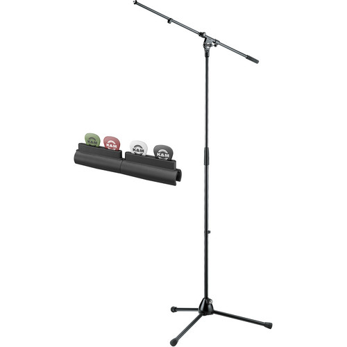K&M 210/20 Tripod Microphone Stand with Fixed Boom Arm and 14510 Pick Holder