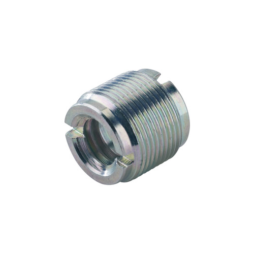 "K&M 215 Thread Adapter, 1/2 and 3/8"" Female Thread, 5/8"" 27 Gauge Male Thread (Zinc-Coated)"