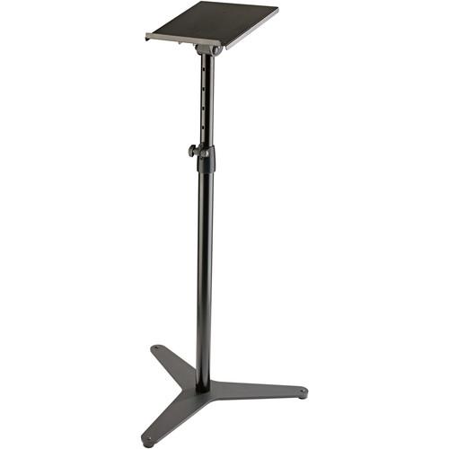 K&M 26754 Topline Monitor Stand with Tiltable Shelf (Black)
