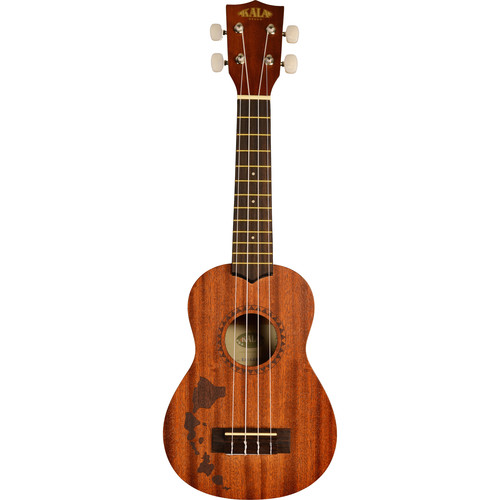 KALA Satin Mahogany Soprano Ukulele with Hawaiian Islands Laser-Etched Design