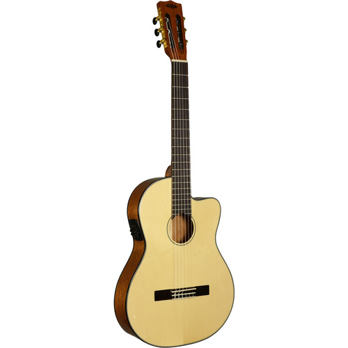 KALA Thinline Nylon-String Acoustic/Electric Guitar (Solid Spruce Top)