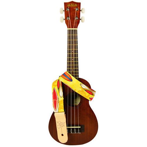 "KALA Custom Designed Handmade Instrument Strap (Yellow Surfboard, 1.5"")"