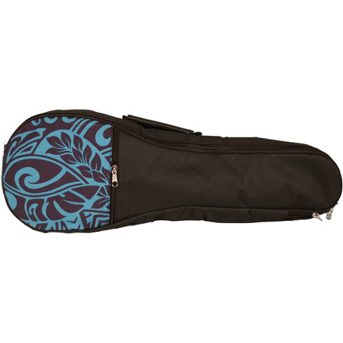 KALA Hawaiian Accent Padded Bag for Concert Ukulele (Blue Tribal)