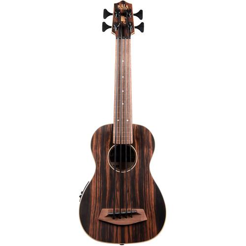 KALA UBASS-EBY-FL Striped Ebony Fretless Acoustic-Electric U-Bass with Padded Bag