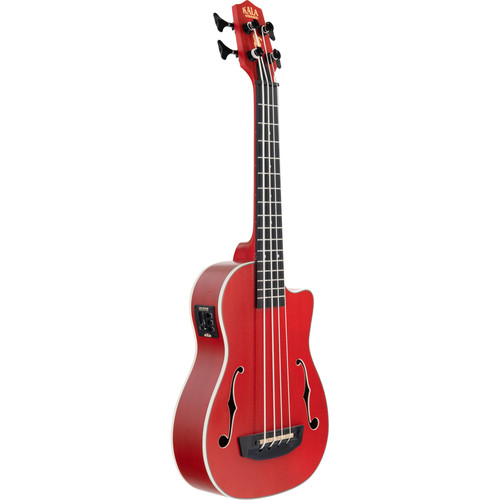 KALA UBASS-JYMN-FS Journeyman Acoustic/Electric UBass with F-Holes and Padded Gig Bag (Matte Red)