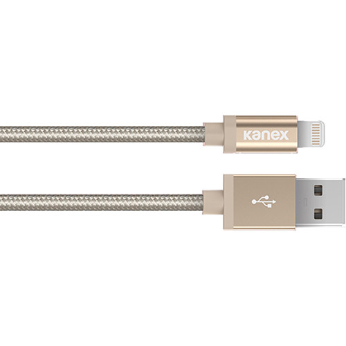 """Kanex Premium DuraBraid ChargeSync USB Cable with Lightning Connector (6"""", Gold)"""