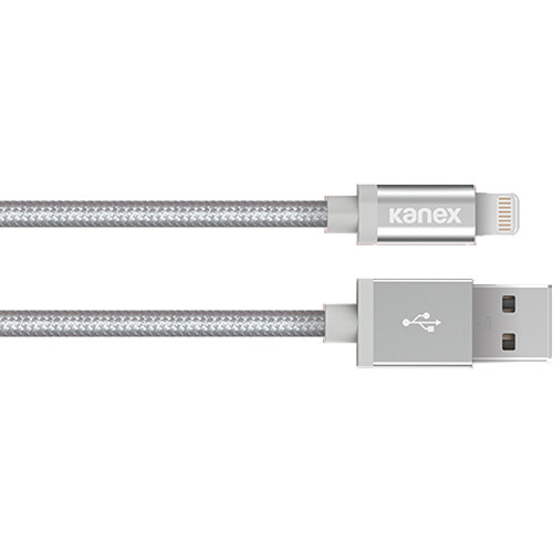 """Kanex Premium DuraBraid ChargeSync USB Cable with Lightning Connector (6"""", Silver)"""