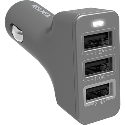 Kanex 4.4A 3-Port USB Car Charger (Space Gray)