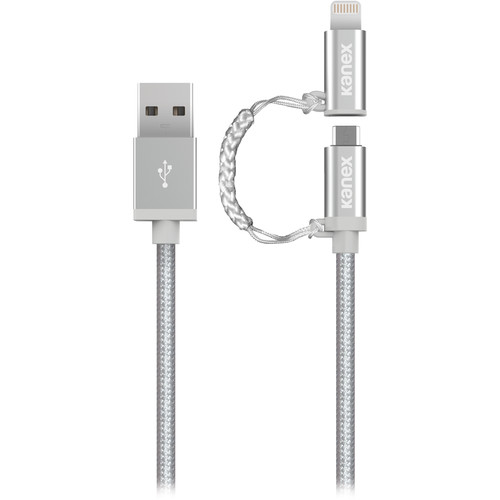 Kanex Charge and Sync Duo Micro USB & Lightning / USB Cable (Silver, 4')