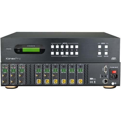 KanexPro 4K HDBaseT 6x6 Matrix Switcher with PoE
