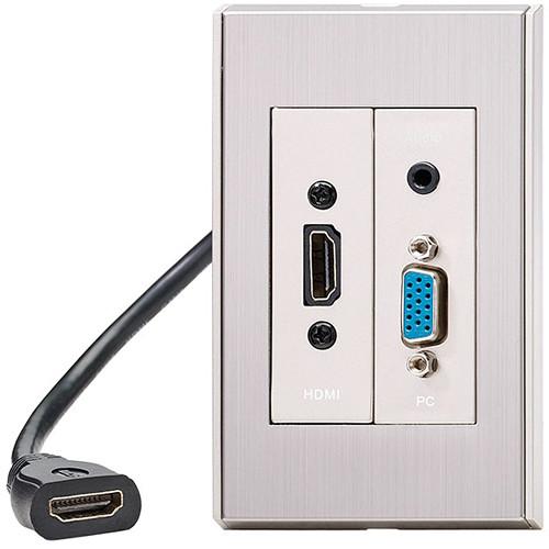 KanexPro WP-HDVGAA EasySnap HDMI & VGA Wall Plate with Audio (Silver Gray)