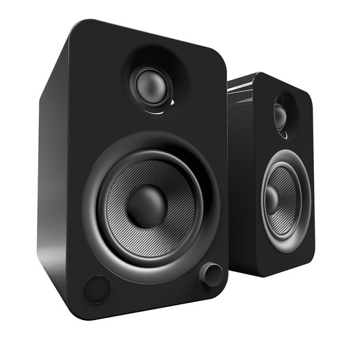 Kanto Living YU4 2-Way Powered Bookshelf Speakers (Pair, Gloss Black)