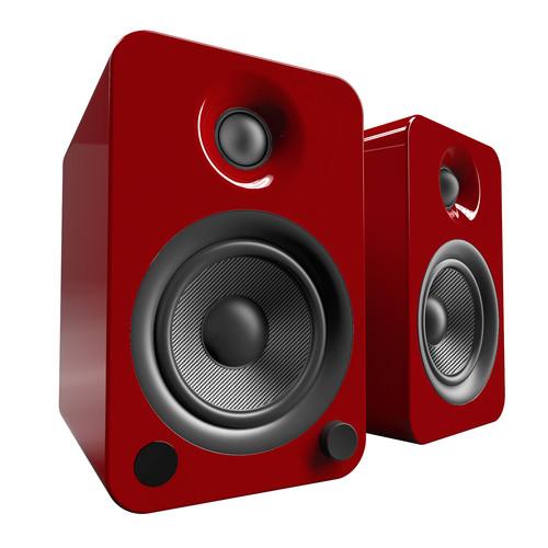 Kanto Living YU4 2-Way Powered Bookshelf Speakers (Pair, Crimson)