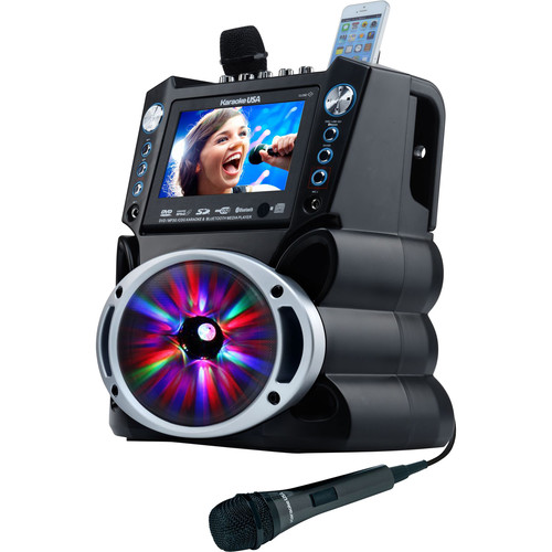 """Karaoke USA GF842 Bluetooth Karaoke System with 7"""" Color Screen, Record Function and LED Sync Lights"""