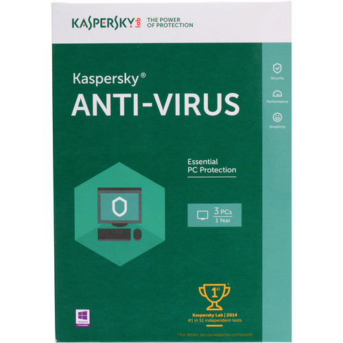 Kaspersky Anti-Virus 2016 (Boxed, 3 PCs, 1-Year Protection)