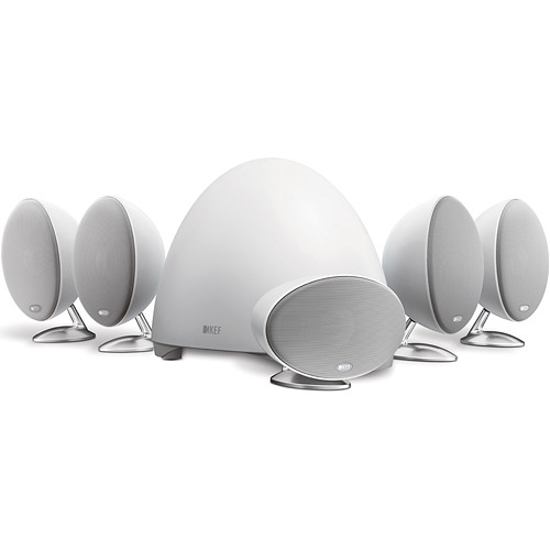 KEF E305 - 5.1 Surround Home Theater Speaker System with Powered Sub (White)
