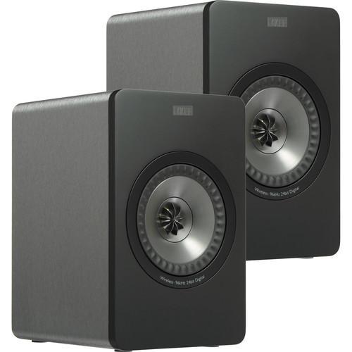 KEF X300A Wireless Powered 2-Way Digital Hi-Fi Speakers with USB Input (Pair, Grey)