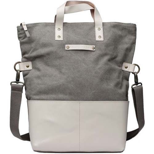 Kelly Moore Bag Collins Canvas & Leather Shoulder Bag with Removable Insert (Sand/Bone Trim)