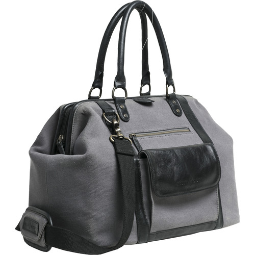 Kelly Moore Bag Jude 2.0 Gray Canvas Bag with Black Leather Accents