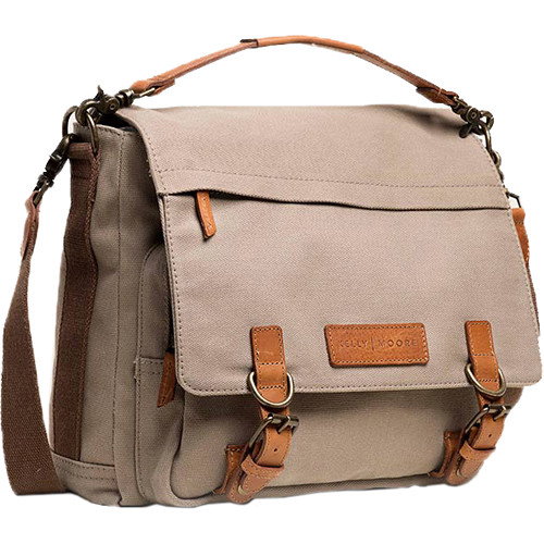 Kelly Moore Bag Kate 2.0 Messenger Bag with Removable Basket (Beige Canvas with Brown Trim)