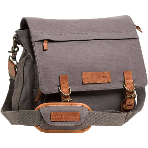 Kelly Moore Bag Kate 2.0 Messenger Bag with Removable Basket (Gray Canvas with Brown Trim)