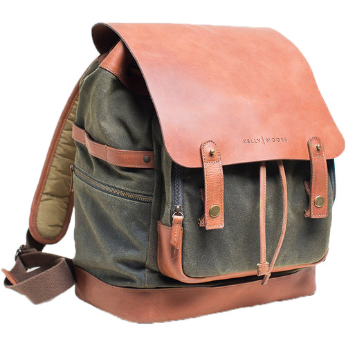 Kelly Moore Bag Pilot 2.0 Canvas and Full-Grain Leather Backpack (Olive)
