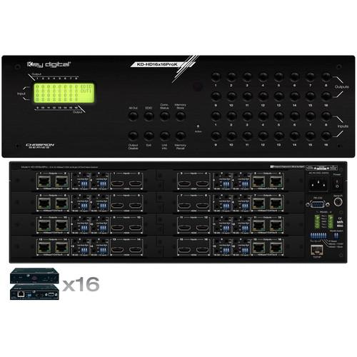 Key-Digital KD-HD16x16ProK 4K HDMI over HDBaseT 16x16 Matrix Switcher/Extender Set