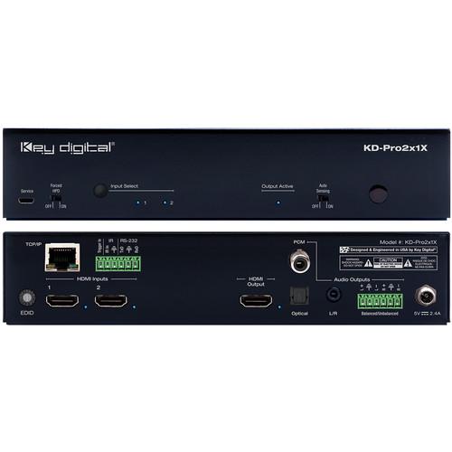 Key Digital 2x1 4K/18G HDMI Switcher with De-Embedded Audio Output (Optical/Balanced Audio) and IP Control