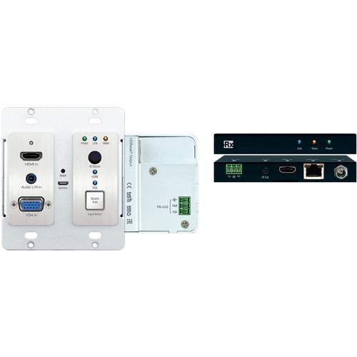 Key-Digital 4K HDMI/VGA over HDBaseT 2x1 Wall Plate Switcher, Scaler & Extender