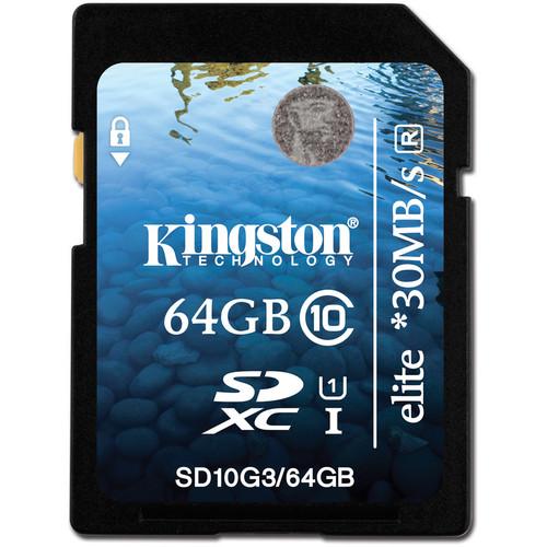 Kingston 64GB SDXC Elite Class 10 UHS-1 Memory Card