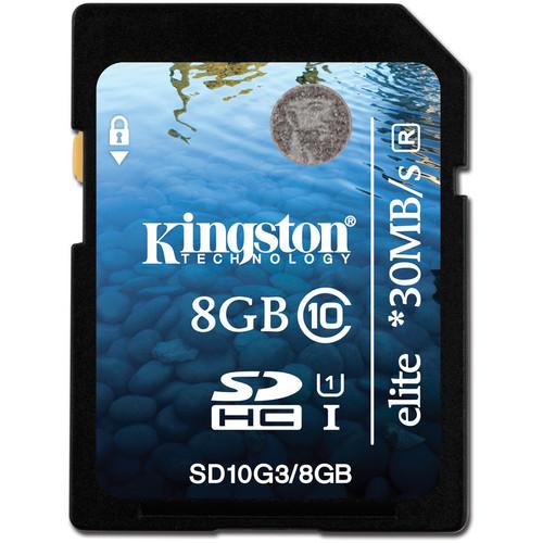 Kingston 8GB SDHC Elite Class 10 UHS-1 Memory Card
