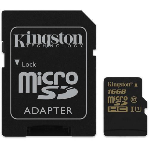 Kingston 16GB SDCA10 UHS-I microSDHC Memory Card (Class 10)
