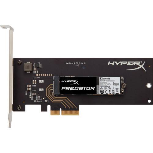 Kingston 240GB HyperX Predator PCIe M.2 Internal SSD with PCIe Adapter Card