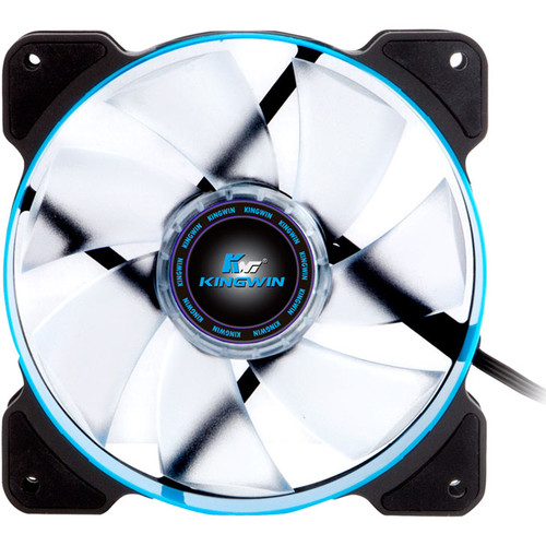 """Kingwin PWM Long-Life Bearing Case Fan with Blue LED for XF Mobile Rack Series (4.7 x 4.7"""", Blue & Black, White Blades)"""