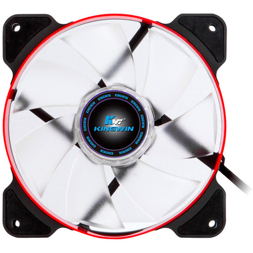 """Kingwin PWM Long-Life Bearing Case Fan with Red LED for XF Mobile Rack Series (4.7 x 4.7"""", Red & Black, White Blades)"""