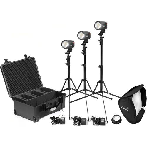 Kinotehnik Practilite 600 Bi-Color LED Fresnel 3-Light Kit with Stands