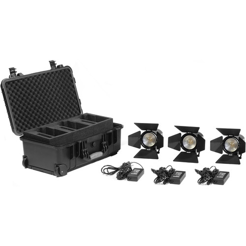 Kinotehnik Practilite 602 LED Bi-Color Fresnel 3-Light Kit with Case