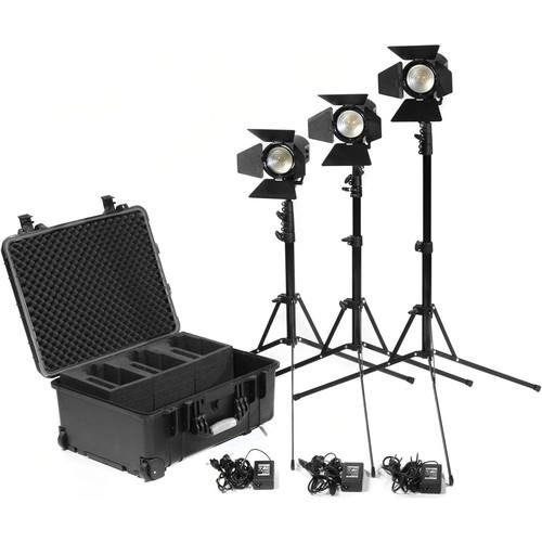 Kinotehnik Practilite 602 LED Bi-Color Fresnel 3-Light Kit with Stands and Case