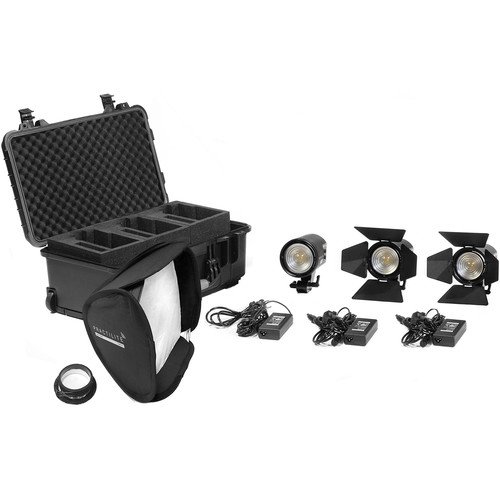 Kinotehnik 2-Practilite 602 and 1-Practilite 600 Bi-Color 3-Light LED Fresnel Kit