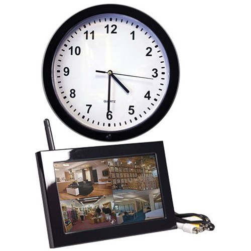 KJB Security Products SC7017 Xtreme Life Wireless Wall Clock Covert Indoor Color Camera with QUAD LCD Receiver (NTSC)